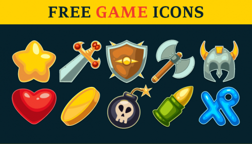 A set of 10 action game icons
