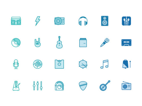 24 music icons designed by Mantas Sutkus and provided in three different styles: line, filled and negative