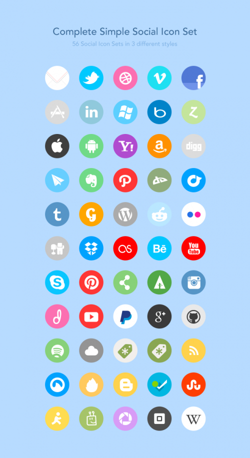 56 Social Icons at 64x64px, 32x32px in PNG format